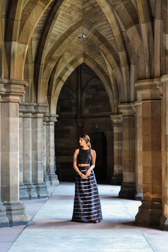Thankfifi- David's Bridal, Glasgow - prom stripe 2 piece dress