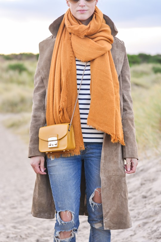 Thankfifi- Mango suede trench, MIH Jeans breton top & Furla yellow mini bag-11