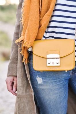Thankfifi- Mango suede trench, MIH Jeans breton top & Furla yellow mini bag-13