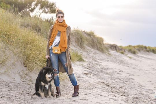 Thankfifi- Mango suede trench, MIH Jeans breton top & Furla yellow mini bag-3