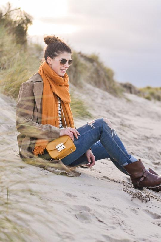 Thankfifi- Mango suede trench, MIH Jeans breton top & Furla yellow mini bag-7