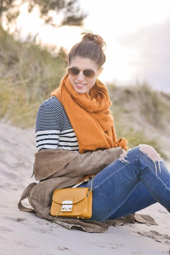 Thankfifi- Mango suede trench, MIH Jeans breton top & Furla yellow mini bag-9
