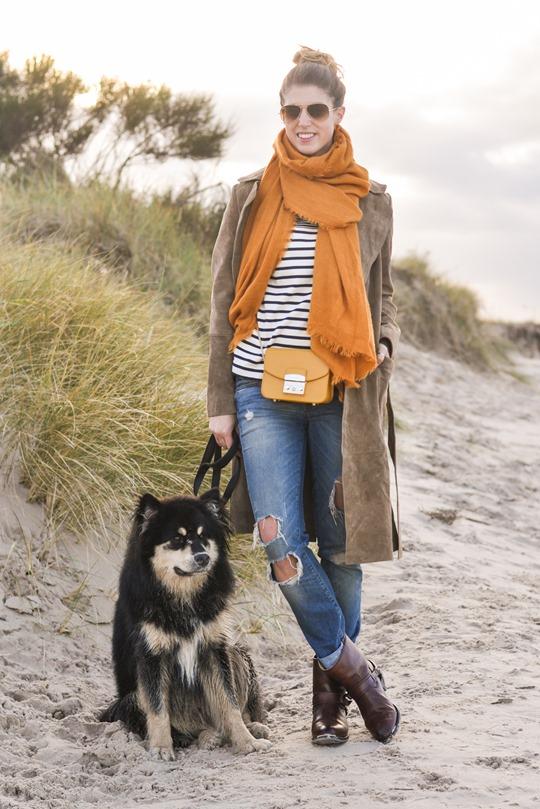 Thankfifi- Mango suede trench, MIH Jeans breton top & Furla yellow mini bag