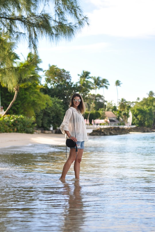 Thankfifi- Zalando Denim & Supply boho blouse & Rebecca Minkoff tassel bag - Cobblers Cove, Barbados