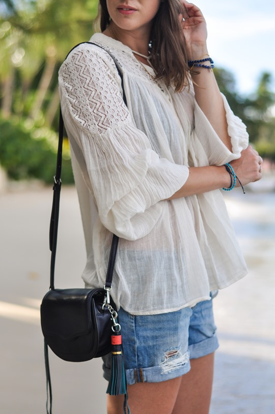 Thankfifi- Zalando Denim & Supply boho blouse & Rebecca Minkoff tassel bag - Cobblers Cove, Barbados-6