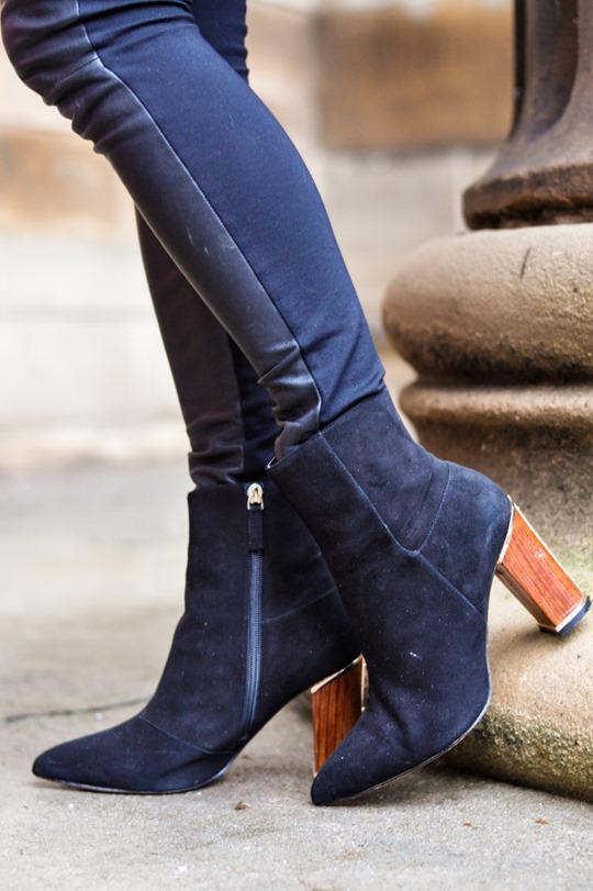 Thankfifi- leather skirt over leather pants & Reiss Sahara bag-10