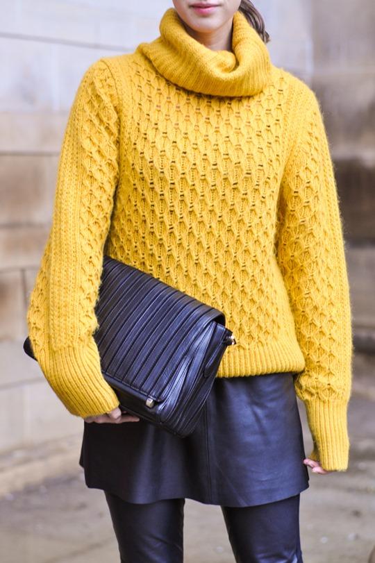 Thankfifi- leather skirt over leather pants & Reiss Sahara bag-5