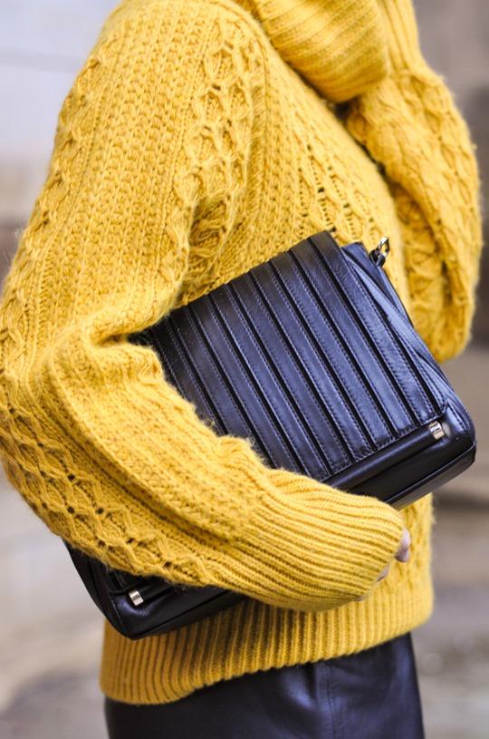 Thankfifi- leather skirt over leather pants & Reiss Sahara bag-6