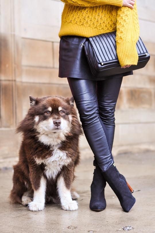 Thankfifi- leather skirt over leather pants & Reiss Sahara bag-9