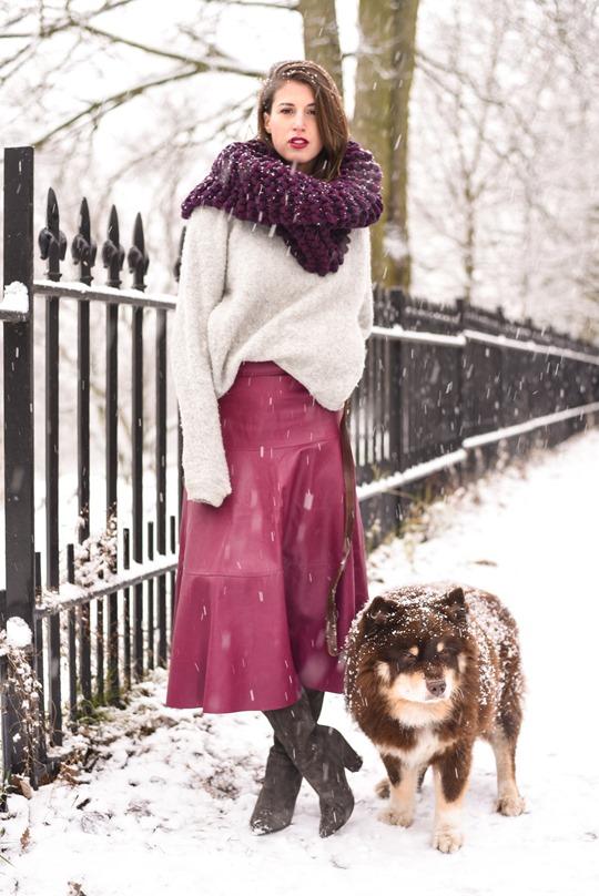 Thankfifi- LK Bennett Delfine leather midi skirt & Knit Knot Knit snood-11