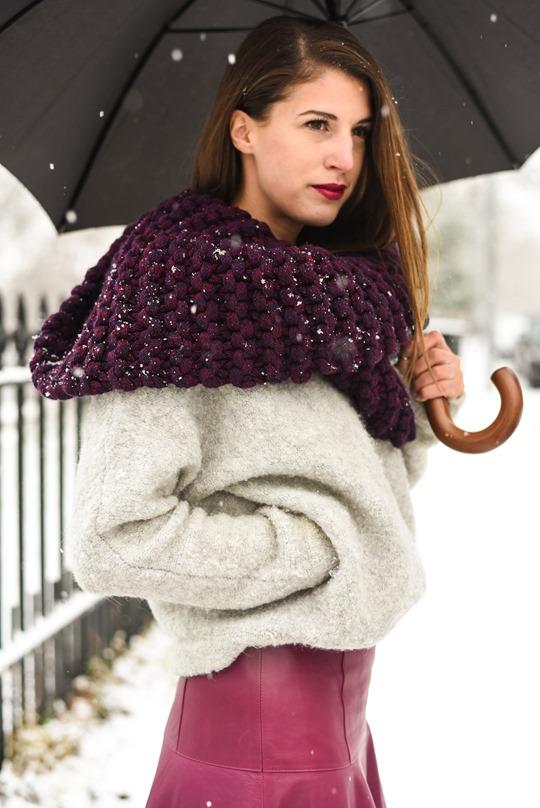 Thankfifi- LK Bennett Delfine leather midi skirt & Knit Knot Knit snood-2