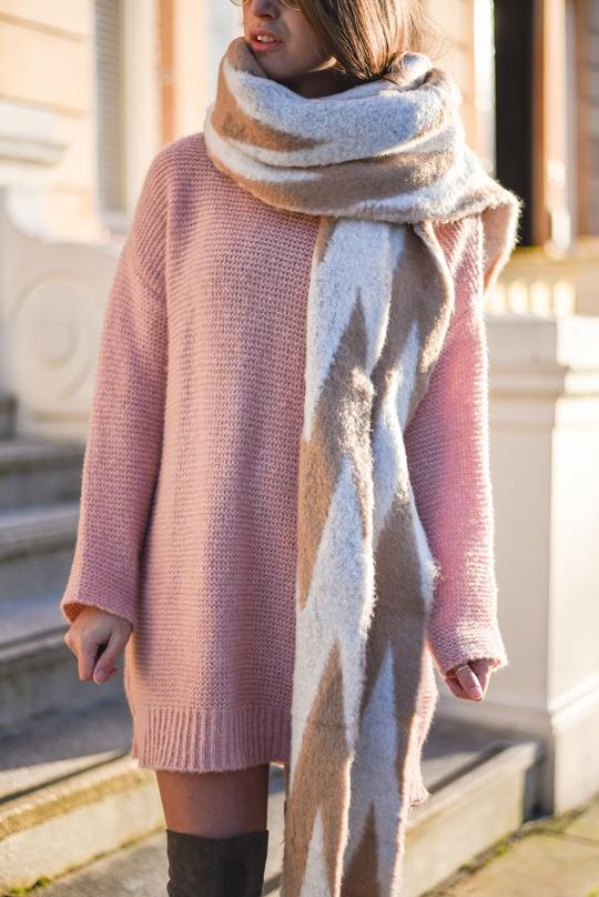 Asos pink jumper dress - winter streetstyle by Thankfifi-8