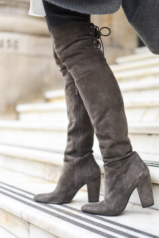 Over the knee grey suede boots by Ted & Muffy - Thankfifi