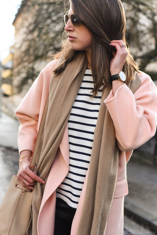 Peach cocoon coat, Banana Republic - street style by Thankfifi-14