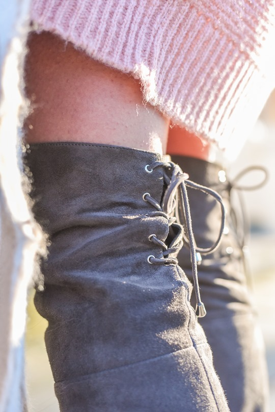 Ted & Muffy Acantha over the knee grey suede boots - winter streetstyle by Thankfifi