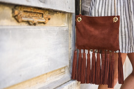 Asos off the shoulder boho sundress & Next suede tassel bag - Thankfifi in Chambery-14