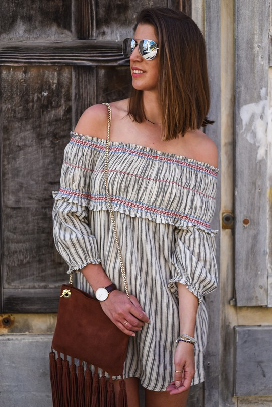 Asos off the shoulder boho sundress & Next suede tassel bag - Thankfifi in Chambery-15