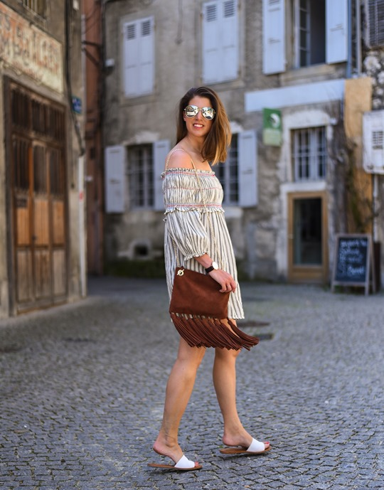 Asos off the shoulder boho sundress & Next suede tassel bag - Thankfifi in Chambery-3