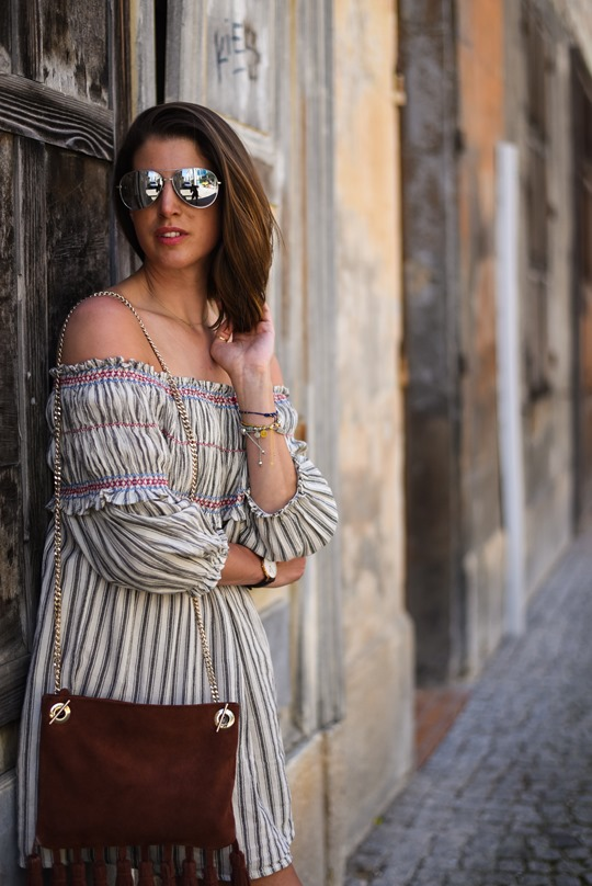 Asos off the shoulder boho sundress & Next suede tassel bag - Thankfifi in Chambery-9