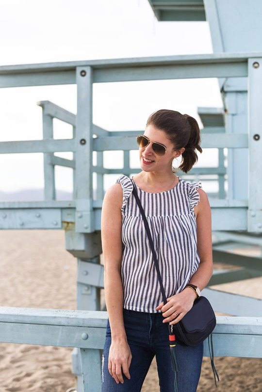 Candy Stripe Aerie top, Santa Monica Beach - Thankfifi LA Travel Diary-5