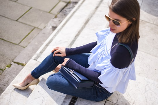 Zara off shouler ruffle top & Armani blue cross body bag - Thankfifi-19