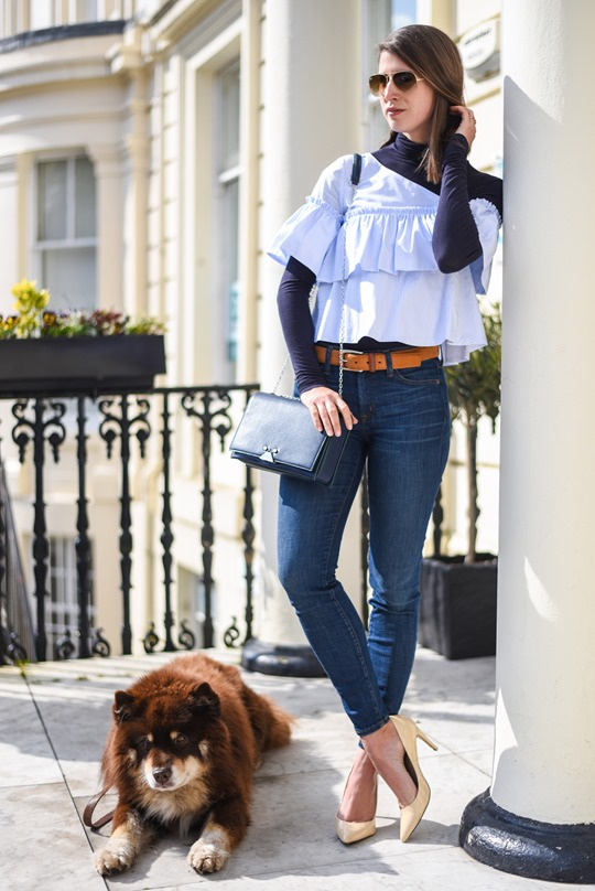 Zara off shouler ruffle top & Armani blue cross body bag - Thankfifi-7