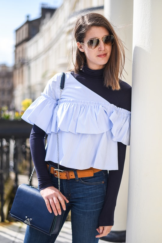 Zara off shouler ruffle top & Armani blue cross body bag - Thankfifi-9