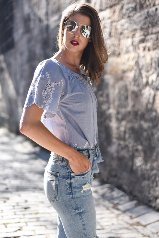 BHS broderie anglaise chambray top super ripped jeans - Thankfifi, Scottish fashion blog-4