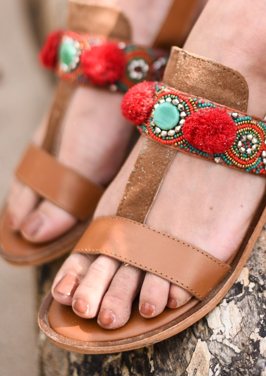 Boho leather pompom sandals, Next - Thankfifi, Scottish fashion blog