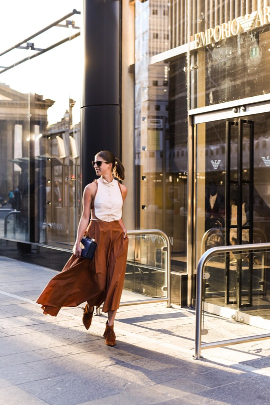 Emporio Armani SS16 backless shirt and tan split midi skirt - Thankfifi on Ingram Street Glasgow