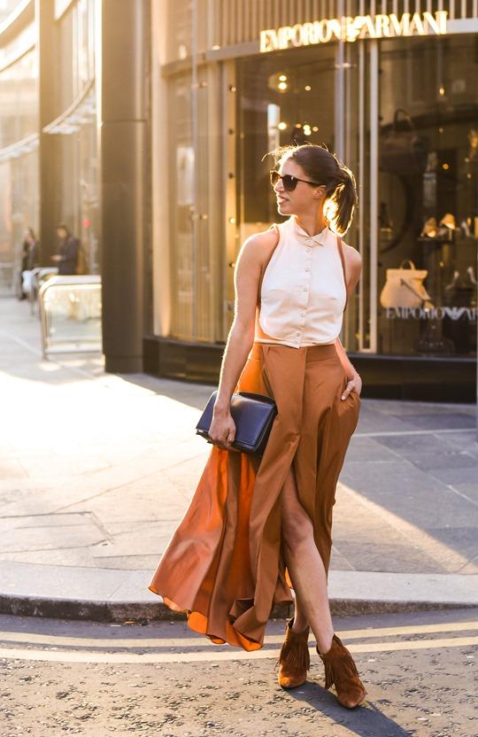 Emporio Armani SS16 backless shirt and tan split midi skirt - Thankfifi on Ingram Street Glasgow-8