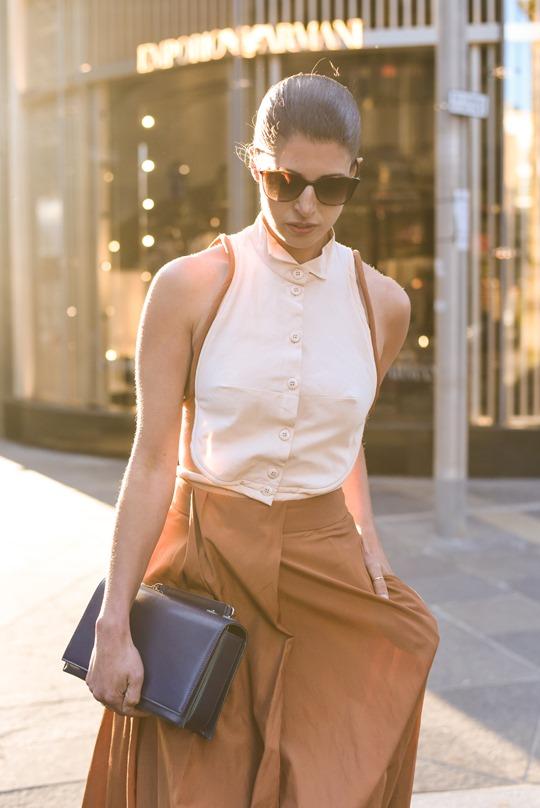 Emporio Armani SS16 backless shirt and tan split midi skirt - Thankfifi on Ingram Street Glasgow-13
