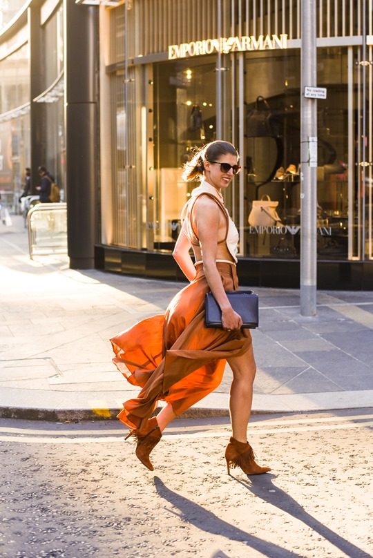 Emporio Armani SS16 backless shirt and tan split midi skirt - Thankfifi on Ingram Street Glasgow-4