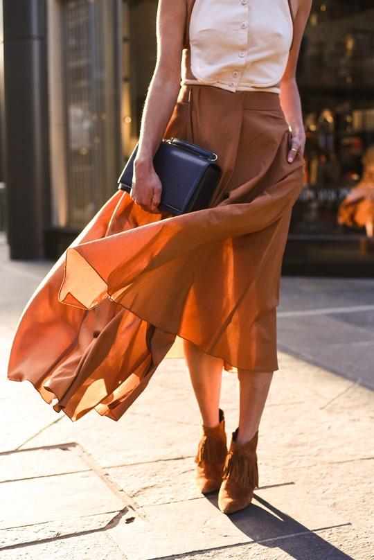 Emporio Armani SS16 backless shirt and tan split midi skirt - Thankfifi on Ingram Street Glasgow-24