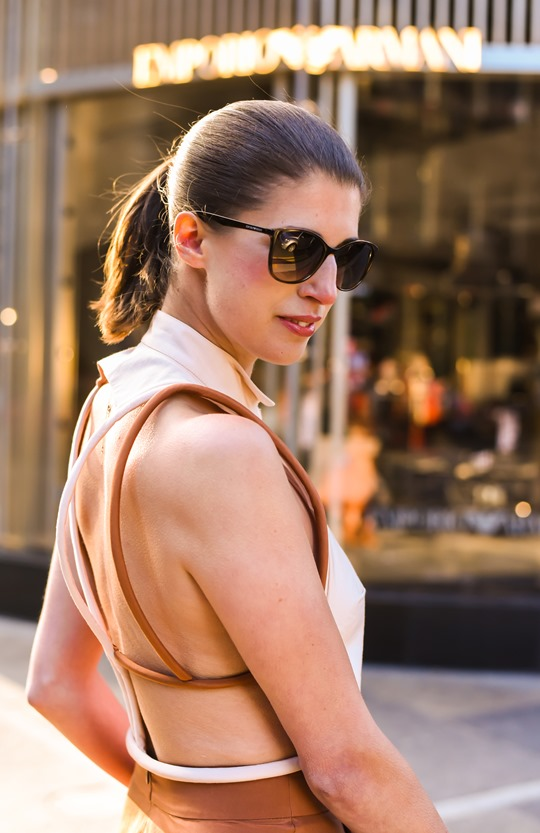 Emporio Armani SS16 backless shirt and tan split midi skirt - Thankfifi on Ingram Street Glasgow-22