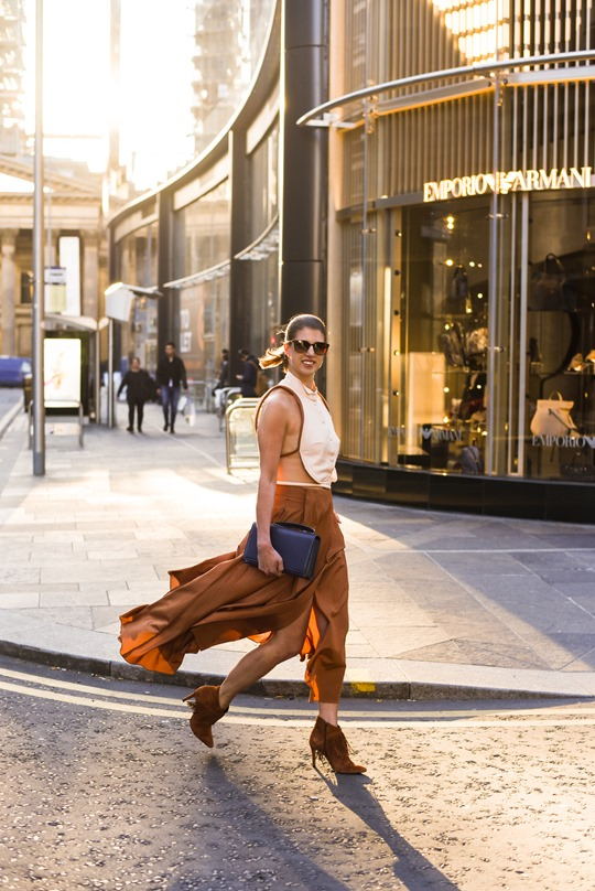 Emporio Armani SS16 backless shirt and tan split midi skirt - Thankfifi on Ingram Street Glasgow-3