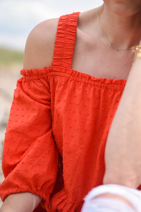 H&M off the shoulder red boho dress - Thankfifi, Scottish fashion blog, Troon beach-11