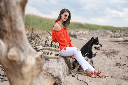 H&M off the shoulder red boho dress - Thankfifi, Scottish fashion blog, Troon beach-4