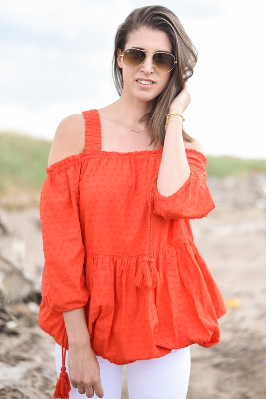 H&M off the shoulder red boho dress - Thankfifi, Scottish fashion blog, Troon beach-7