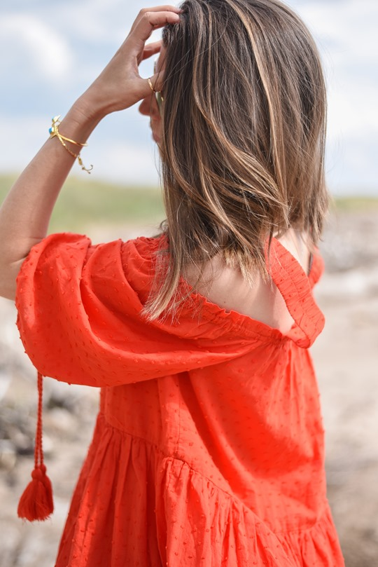 H&M off the shoulder red boho dress - Thankfifi, Scottish fashion blog, Troon beach-8