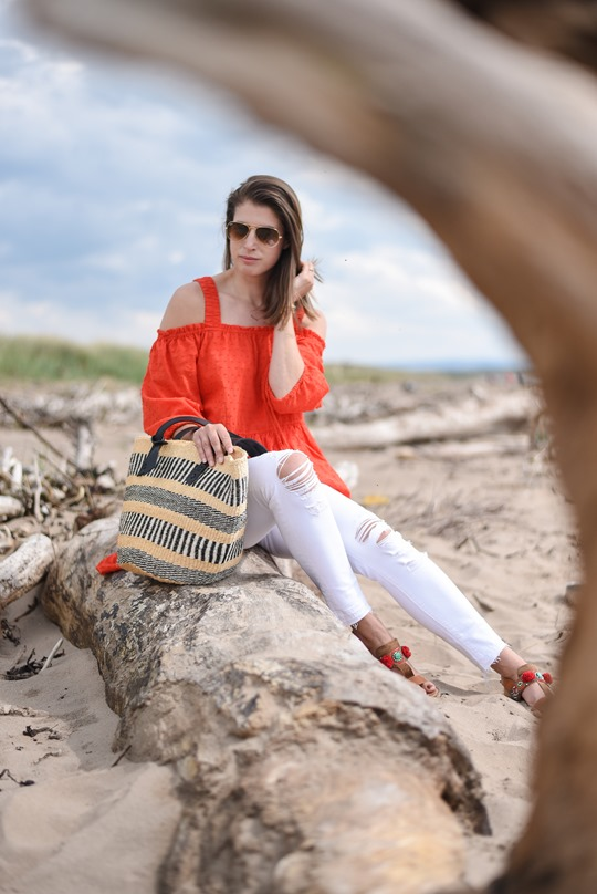 H&M off the shoulder red boho dress - Thankfifi, Scottish fashion blog, Troon beach