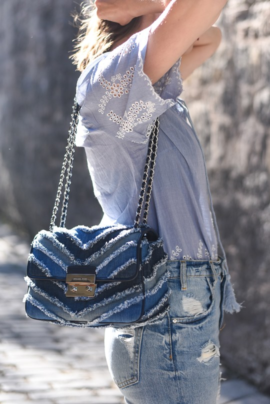 Michael Kors denim frayed bag - Thankfifi, Scottish fashion blog-3