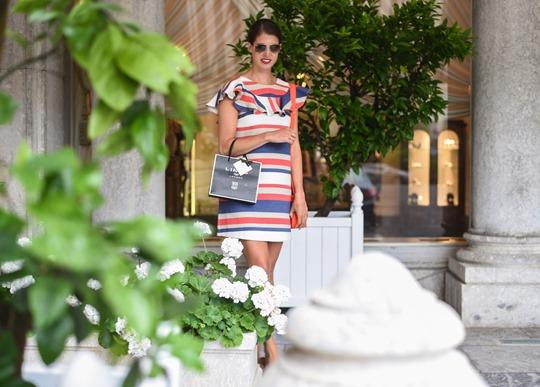 Asos stripe frill dress - Hotel du Palais Biarritz - Thankfifi Scottish travel blog-6