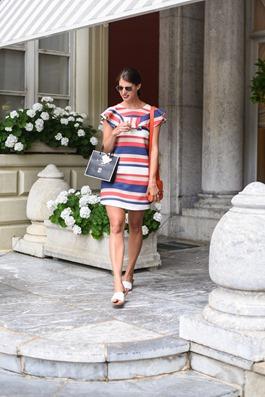 Asos stripe frill dress - Hotel du Palais Biarritz - Thankfifi Scottish travel blog-8