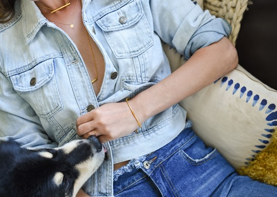Gap 1969 denim jacket & Gorjana double necklace, Audrey Style - Thankfifi luxury lifestyle blog-2