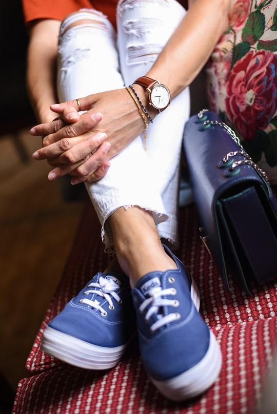 Keds platform blue sneakers, Stobo Castle - Thankfifi, Scottish travel blog