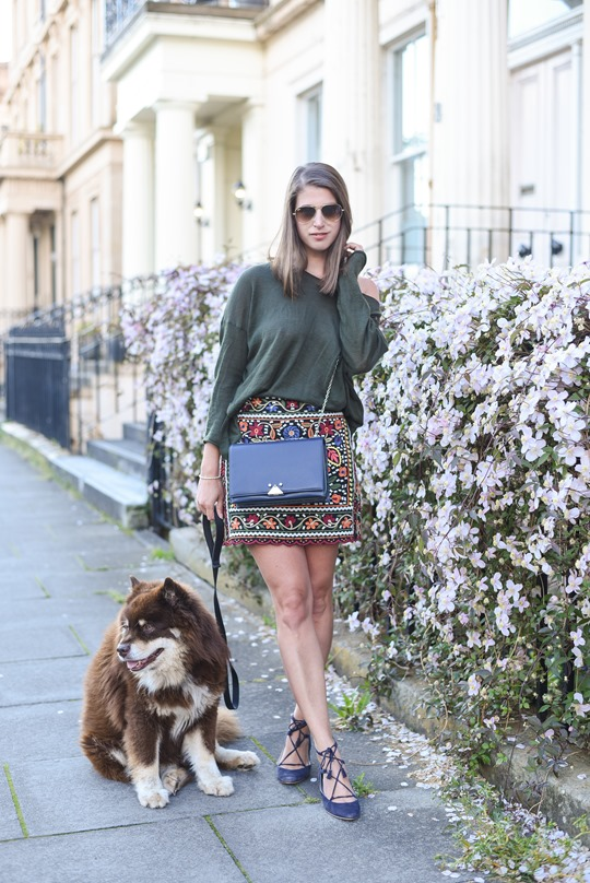 Zara embroidered mini skirt - Thankfifi Scottish fashion blog