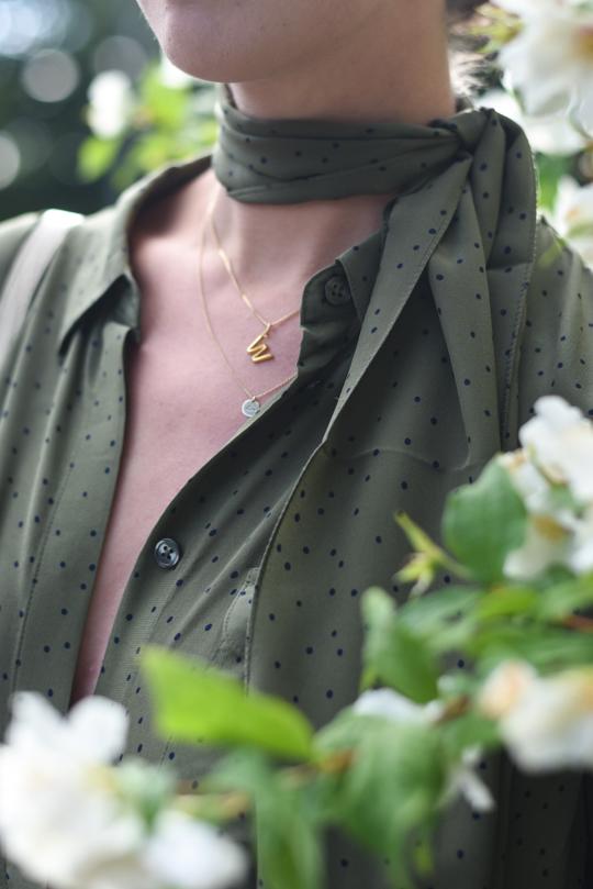 Boden khaki silk polkadot shirt - Thankfifi Scottish fashion blog-11