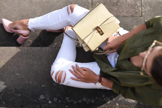 Boden khaki silk polkadot shirt - Thankfifi Scottish fashion blog-13