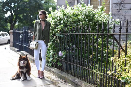 Boden khaki silk polkadot shirt - Thankfifi Scottish fashion blog-2